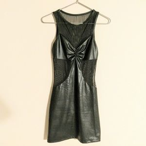 Dresses & Skirts - 🖤Dominatrix mesh lace faux leather mini dress